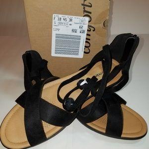 Comfortview black lace up sandals